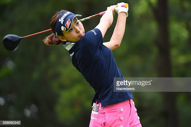 Miho Mori of Japan hits her tee shot on the 2nd hole during the final round of the Suntory Ladies Open at the Rokko Kokusai Golf Club on June 12 2016...