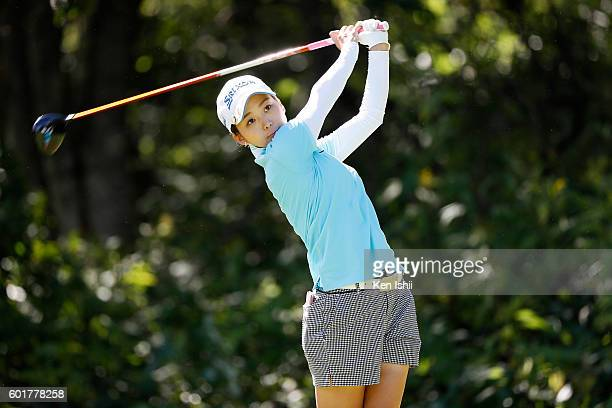 Miho Mori of Japan hits her tee shot on the 2nd hole during the third round of the 49th LPGA Championship Konica Minolta Cup 2016 at the Noboribetsu...