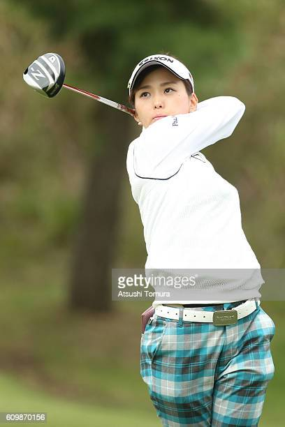 Miho Mori of Japan hits her tee shot on the 3rd hole during the first round of the Miyagi TV Cup Dunlop Ladies Open 2016 at the Rifu Golf Club on...