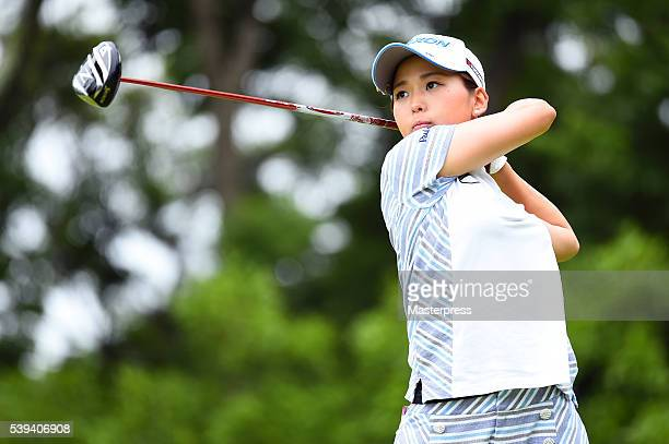 Miho Mori of Japan hits her tee shot on the 7th hole during the third round of the Suntory Ladies Open at the Rokko Kokusai Golf Club on June 11 2016...