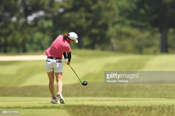 Miho Mori of Japan hits her tee shot on the 9th hole during the final round of the Twin Fields Ladies Tournament at the Golf Club Twin Fields on May...