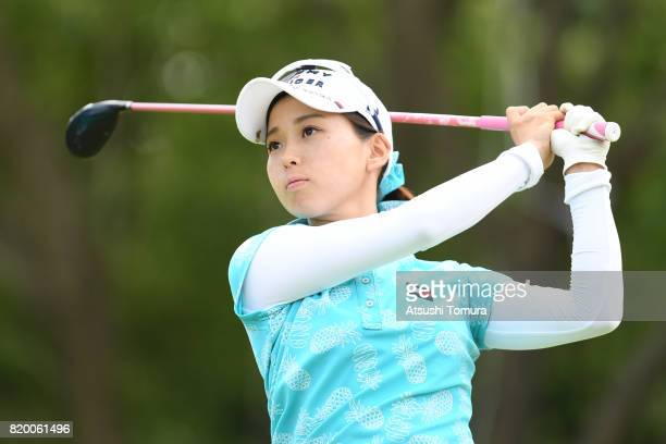 Miho Mori of Japan hits tee shot on the 16th hole during the first round of the Century 21 Ladies Golf Tournament 2017 at the Seta Golf Course on...