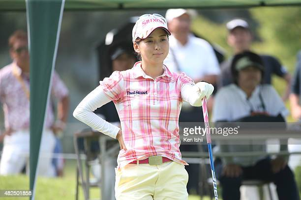 Miho Mori of Japan looks on after hits her tee shot on the 1st hole during the final round of the LPGA Pro Test QT at the Kodama Golf Club on July 31...