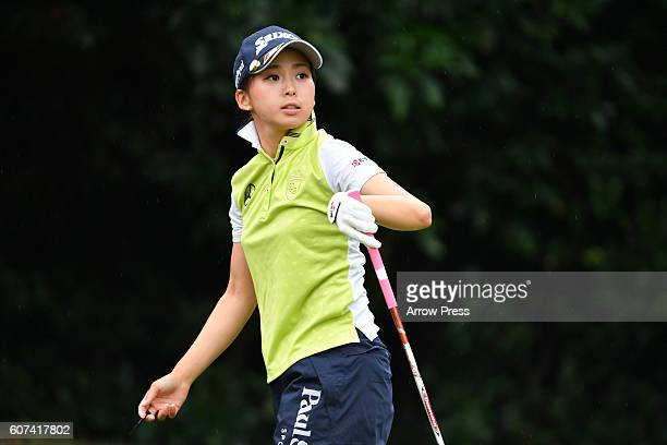 Miho Mori of Japan looks on during the Final round of the Munsingwear Ladies Tokai Classic 2016 at the Shin Minami Aichi Country Club Mihama Course...