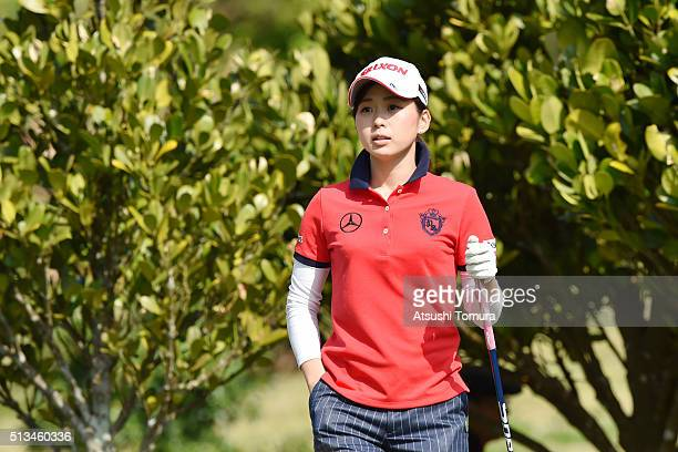 Miho Mori of Japan looks on during the first round of the Daikin Orchid Ladies Golf Tournament at the Ryukyu Golf Club on March 3 2016 in Nanjo Japan