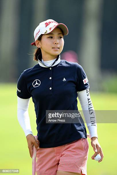 Miho Mori of Japan looks on during the first round of the Munsingwear Ladies Tokai Classic 2016 at the Shin Minami Aichi Country Club Mihama Course...
