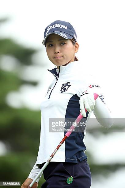 Miho Mori of Japan looks on during the first round of the NEC Karuizawa 72 Golf Tournament 2016 at the Karuizawa 72 Golf North Course on August 12...