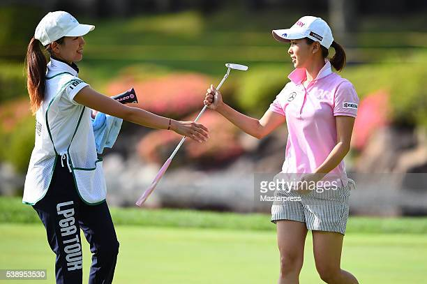 Miho Mori of Japan looks on during the first round of the Suntory Ladies Open at the Rokko Kokusai Golf Club on June 9 2016 in Kobe Japan