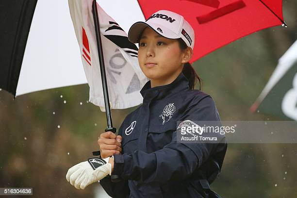 Miho Mori of Japan looks on during the first round of the TPoint Ladies Golf Tournament at the Wakagi Golf Club on March 18 2016 in Takeo Japan
