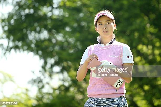 Miho Mori of Japan looks on during the first round of the Yonex Ladies Golf Tournament 2016 at the Yonex Country Club on June 3 2016 in Nagaoka Japan