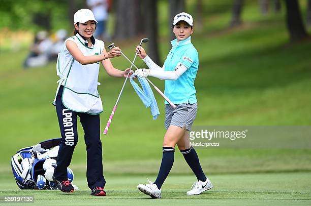 Miho Mori of Japan looks on during the second round of the Suntory Ladies Open at the Rokko Kokusai Golf Club on June 10 2016 in Kobe Japan