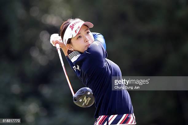 Miho Mori of Japan plays a tee shot on the 5th hole during the first round of the YAMAHA Ladies Open Katsuragi at the Katsuragi Golf Club Yamana...
