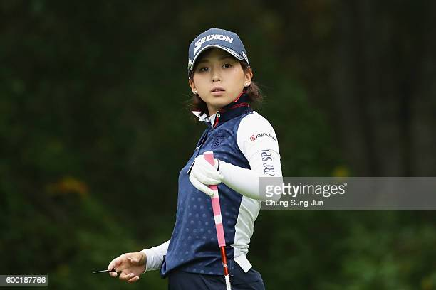 Miho Mori of Japan reacts after a tee shot on the 2nd hole during the first round of the 49th LPGA Championship Konica Minolta Cup 2016 at the...
