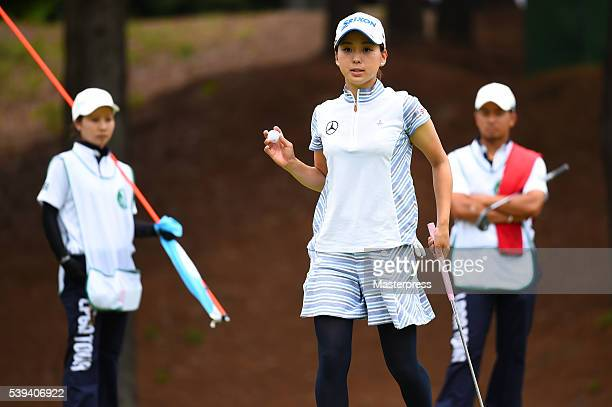 Miho Mori of Japan reacts during the third round of the Suntory Ladies Open at the Rokko Kokusai Golf Club on June 11 2016 in Kobe Japan