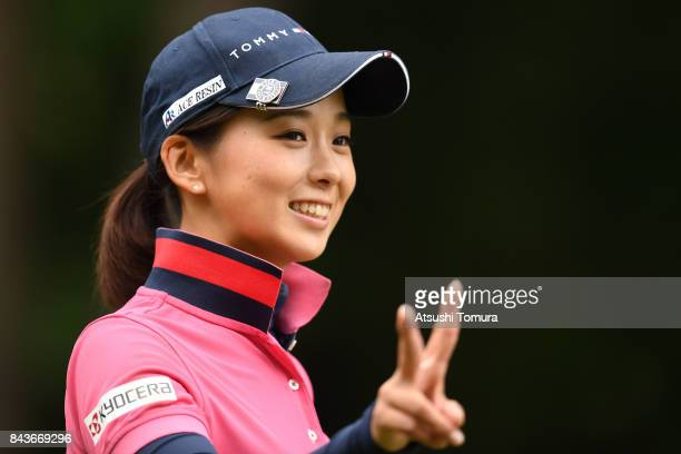 Miho Mori of Japan smiles during the first round of the 50th LPGA Championship Konica Minolta Cup 2017 at the Appi Kogen Golf Club on September 7...