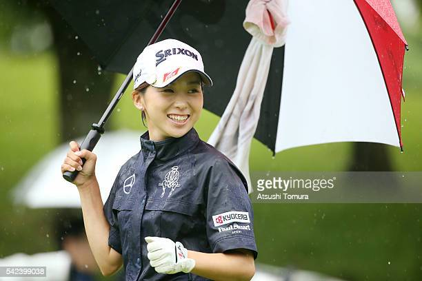 Miho Mori of Japan smiles during the first round of the Earth Mondamin Cup at the Camellia Hills Country Club on June 23 2016 in Sodegaura Japan