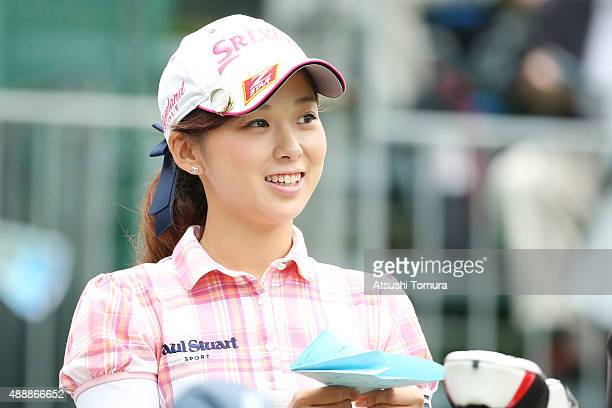 Miho Mori of Japan smiles during the first round of the Munsingwear Ladies Tokai Classic at the Shin Minami Aichi Country Club Mihama Course on...