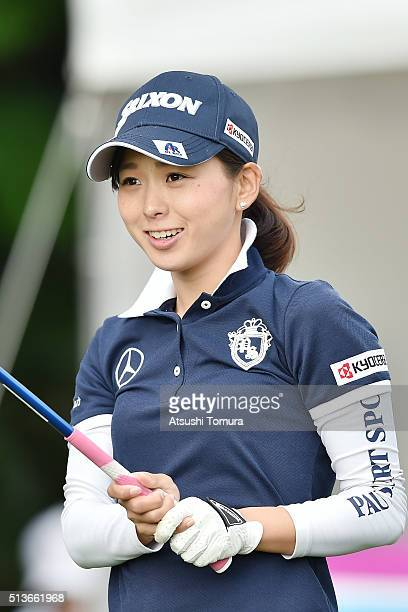 Miho Mori of Japan smiles during the second round of the Daikin Orchid Ladies Golf Tournament at the Ryukyu Golf Club on March 4 2016 in Nanjo Japan