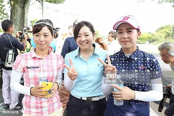 Miho Mori Sumika Nakasone and Ayumi Oyama of Japan pose for photographs after the final round of the LPGA Pro Test QT at the Kodama Golf Club on July...