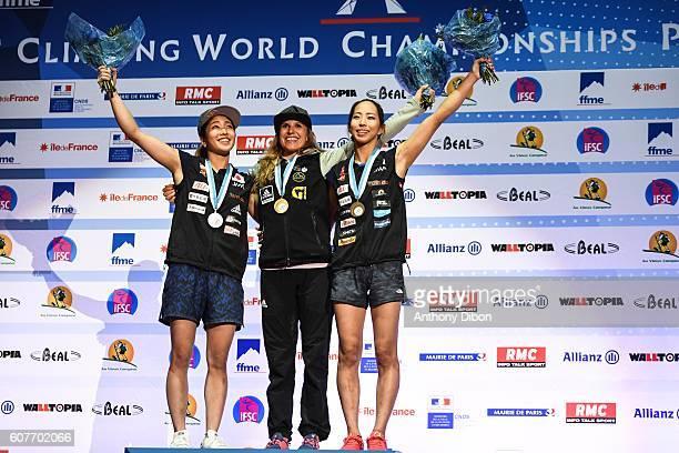 Miho Nonaka of Japan Petra Klingler of Switzerland and Akiyo Noguchi of Japan during the World Championship Final Climbing at AccorHotels Arena on...