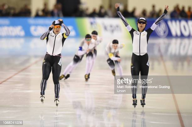 Miho Takagi and Ayano Sato of Japan celebrate during the Women's Team Pursuit on day one of the ISU World Cup Speed Skating at Meiji HokkaidoTokachi...