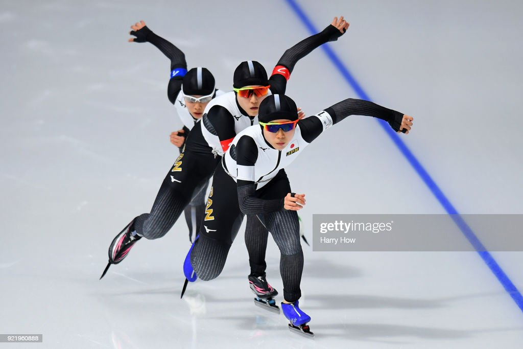 Miho Takagi, Ayaka Kikuchi and Nana Takagi of Japan compete during the Ladies' Team Pursuit Semifinal 2 Speed Skating on day 12 of the PyeongChang 2018 Winter Olympic Games at Gangneung Oval on February 21, 2018 in Gangneung, South Korea.