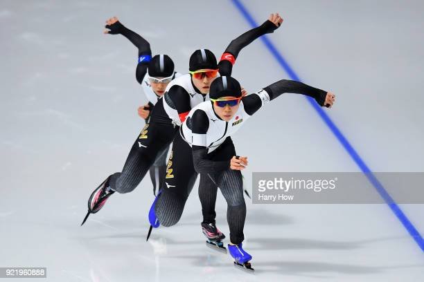 Miho Takagi Ayaka Kikuchi and Nana Takagi of Japan compete during the Ladies' Team Pursuit Semifinal 2 Speed Skating on day 12 of the PyeongChang...