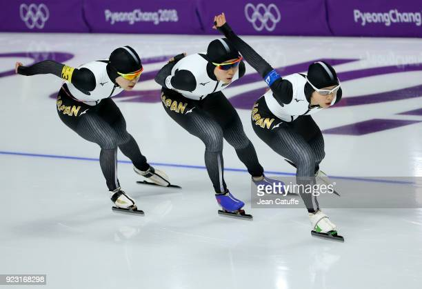 Miho Takagi Ayano Sato and Nana Takagi of Japan compete against the Netherlands during the Speed Skating Women's Team Pursuit Final A on day 12 of...