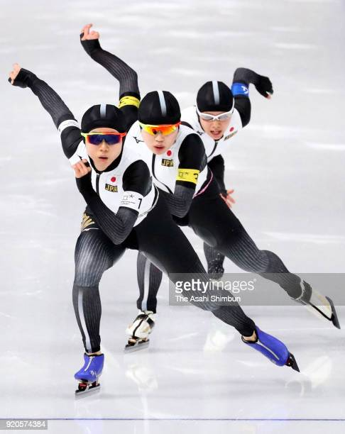Miho Takagi, Ayano Sato and Nana Takagi of Japan compete during the Ladies' Team Pursuit quarterfinal on day ten of the PyeongChang 2018 Winter...