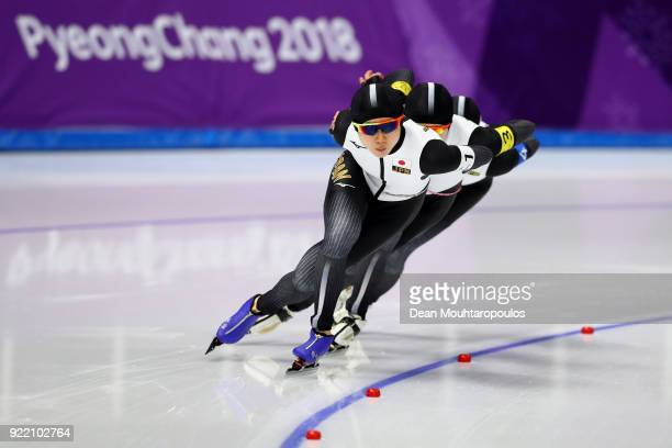 Miho Takagi Ayano Sato and Nana Takagi of Japan compete during the Speed Skating Ladies' Team Pursuit Final A on day 12 of the PyeongChang 2018...