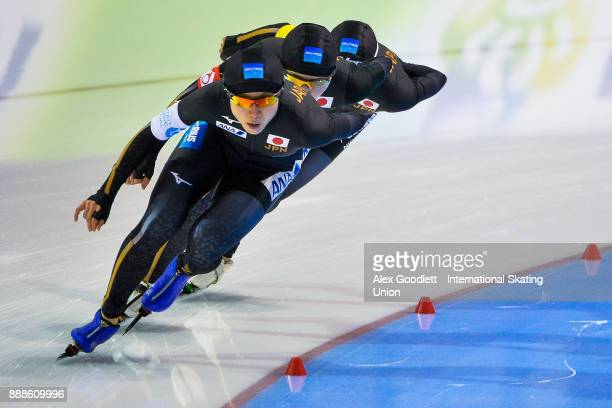 Miho Takagi Ayano Sato and Nana Takagi of Japan compete in the ladies team pursuit during the ISU World Cup Speed Skating event on December 8 2017 in...