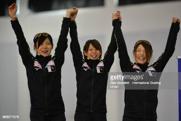 Miho Takagi Ayano Sato and Nana Takagi of Japan stand on the podium afte winning the ladies team pursuit during the ISU World Cup Short Track Speed...