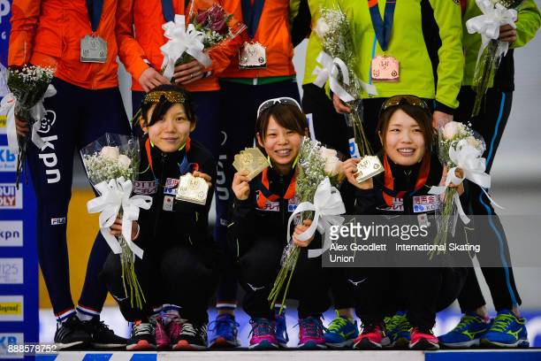 Miho Takagi Ayano Sato and Nana Takagi of Japan stand on the podium after winning the ladies team pursuit during the ISU World Cup Short Track Speed...