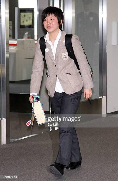 Miho Takagi is seen upon arrival at Narita International Airport on March 2 2010 in Narita Chiba Japan