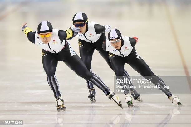 Miho Takagi Nana Tagaki and Ayano Sato of Japan compete during the Women's Team Pursuit on day one of the ISU World Cup Speed Skating at Meiji...