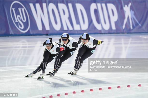 Miho Takagi Nana Takagi and Ayano Sato of Japan compete during the Women's Team Pursuit on day one of the ISU World Cup Speed Skating at Tomakomai...