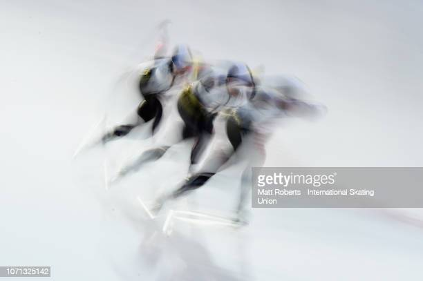 Miho Takagi Nana Takagi and Ayano Sato of Japan competes during the Women's Team Pursuit on day one of the ISU World Cup Speed Skating at Tomakomai...