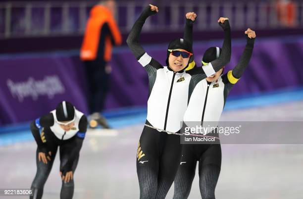 Miho Takagi of Japan celebrates after defeating Netherlands in the final of the Women's Team Pursuit at Gangneung Oval on February 21 2018 in...