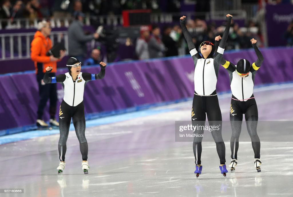 Miho Takagi of Japan celebrates after defeating Netherlands in the final of the Women's Team Pursuit at Gangneung Oval on February 21, 2018 in Gangneung, South Korea.