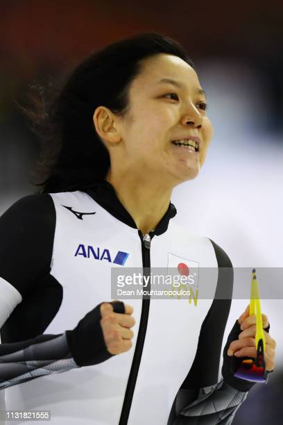 Miho Takagi of Japan celebrates after she competes in the Women's 1000m S[print during day 2 of the ISU World Sprint Speed Skating Championships...