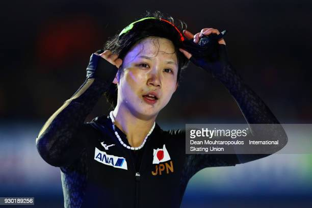 Miho Takagi of Japan celebrates after winning the World Allround Speed Skating Championship at the Olympic Stadium on March 10 2018 in Amsterdam...