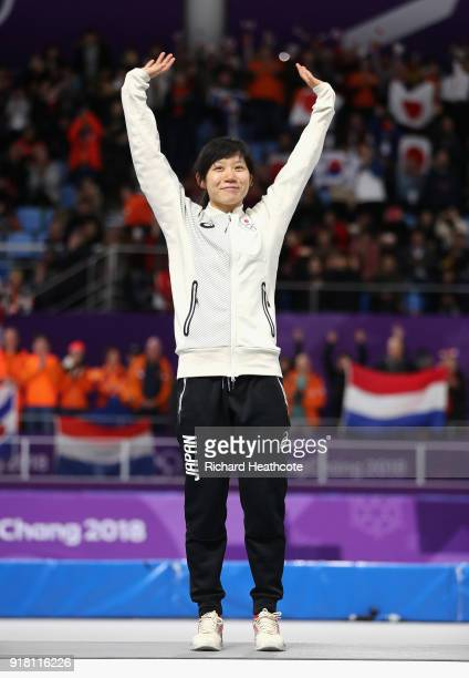 Miho Takagi of Japan celebrates winning the bronze medal during the victory ceremony for the Ladies' 1000m Speed Skating on day five of the...