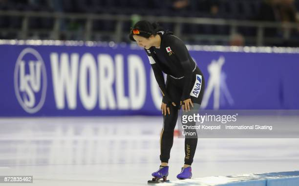 Miho Takagi of Japan celebrates winning the ladies 1500m Division A race competes on Day Two during the ISU World Cup Speed Skating at the Thialf on...