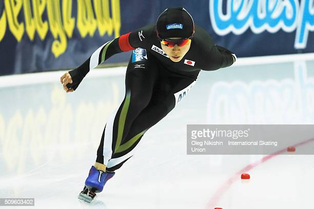 Miho Takagi of Japan compete in the Ladies 3000 meters race during day 1 of the ISU World Single Distances Speed Skating Championships held at Speed...