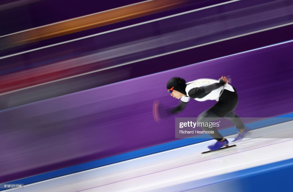 Miho Takagi of Japan competes during the Ladies' 1000m Speed Skating on day five of the PyeongChang 2018 Winter Olympics at Gangneung Oval on February 14, 2018 in Gangneung, South Korea.