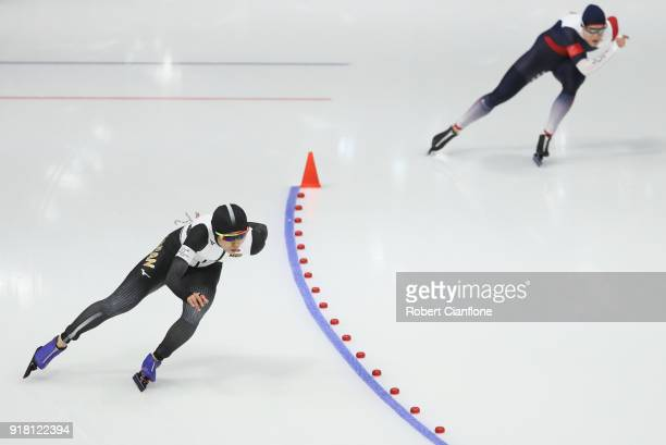 Miho Takagi of Japan competes during the Ladies' Speed Skating 1000m on day five of the PyeongChang 2018 Winter Olympic Games at Gangneung Oval at...