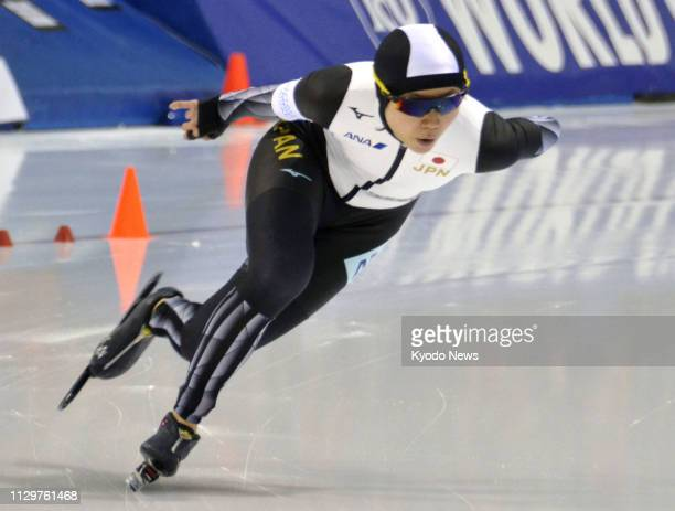 Miho Takagi of Japan competes en route to winning the women's 1500 meters with a world record at the World Cup speed skating seasonending event in...