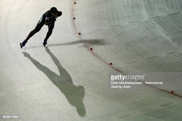 Miho Takagi of Japan competes in the 3000m Ladies race during the World Allround Speed Skating Championships at the Olympic Stadium on March 9 2018...