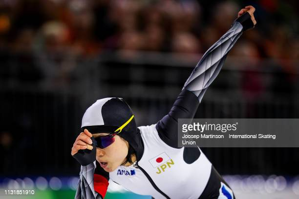 Miho Takagi of Japan competes in the Ladies 1000m during day two of the ISU World Sprint Speed Skating Championships Heerenveen at Ice Rink Thialf on...
