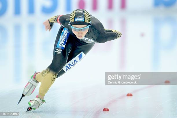 Miho Takagi of Japan competes in the Ladies 1500m Division A race during day one of the ISU Speed Skating World Cup at Max Eicher Arena on February 9...